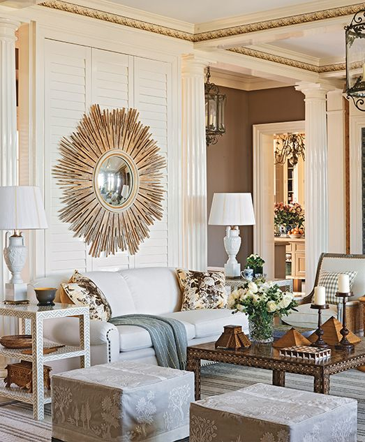 a shuttered partial wall separates the living room from the entryway in designer marshall watsons east - Interior Design On Wall At Home