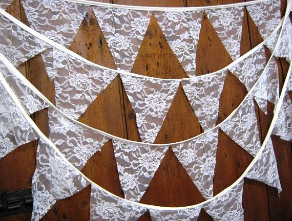 If you are having a traditional wedding then you cannot get a more traditional look than this beautiful lace bunting. Whether it is draped across the