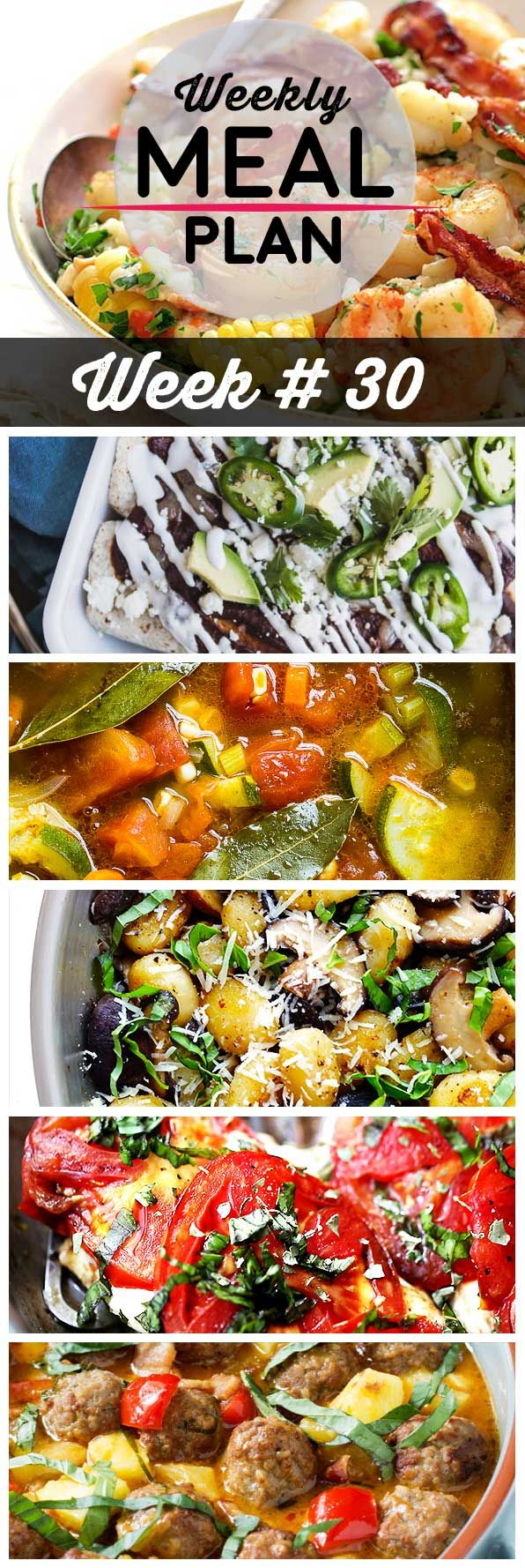 Weekly Meal Plan #30! A meal plan to help you keep things tasty each week, including shrimp and corn risotto, simple mole chicken enchiladas, late summer vegetable soup, and more! | HomemadeHooplah.com