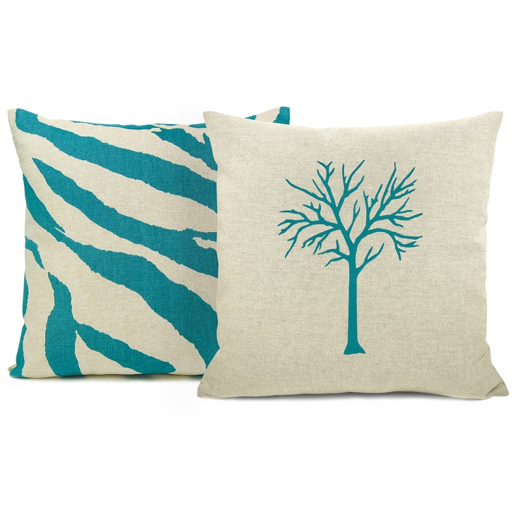 pillow cases teal bird flower horse owl or tree print natural