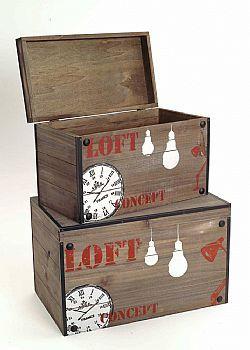 """DCSE - Vintage boxes for decoration. """"Loft"""", wood."""