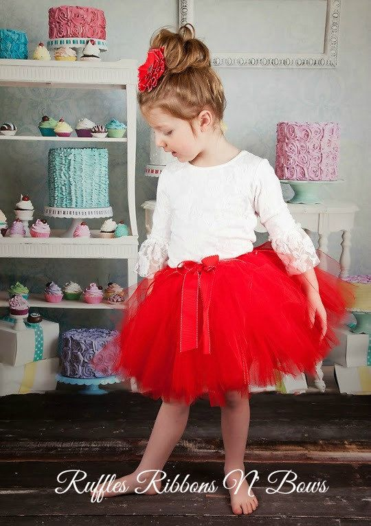 Sweets for your sweetie!! :) {WHAT THIS LISTING INCLUDES} This listing from the Ruffled Truffles Collection includes: a beautiful layered red & tutu handmade by me & a matching ribbon flower hairclip. This listing is for a Made-To-Order tutu set. The tutu is red and has a
