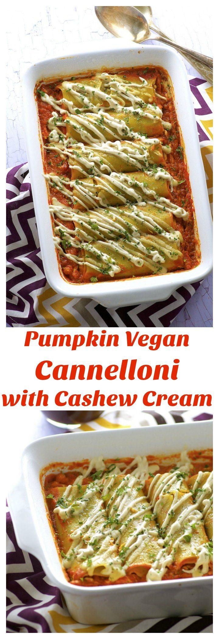 These Pumpkin Vegan Cannelloni with Cashew Cream m…