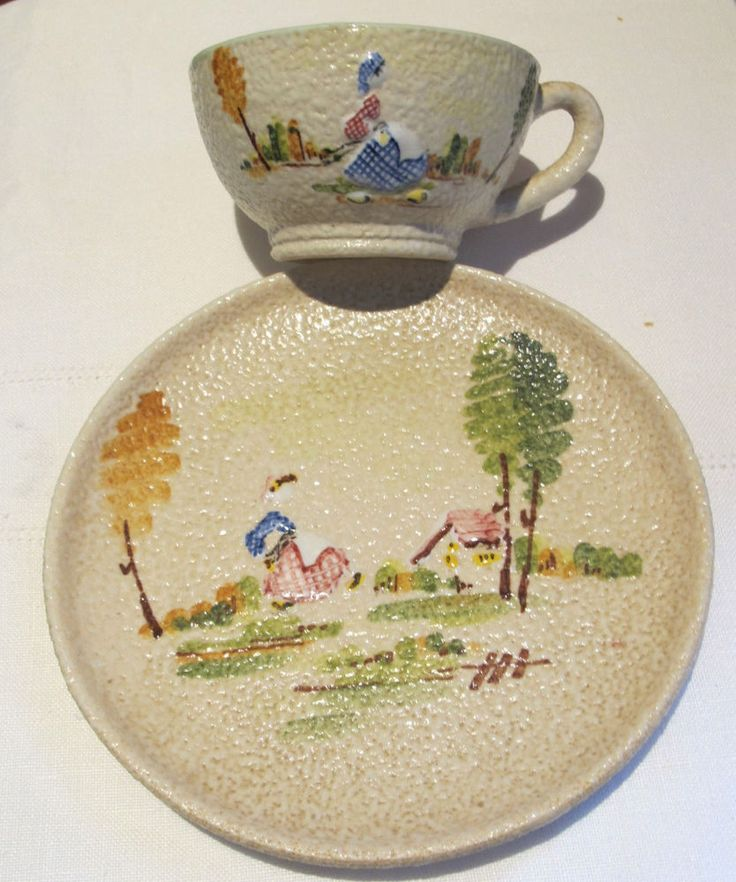 Vintage Cup Saucer Italian Hand Painted Pottery Coffee Tea Appetizer Plate  Gift