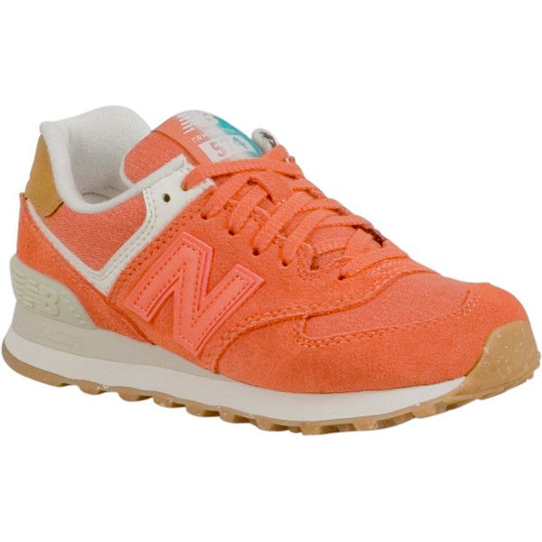 New Balance 574 Global Surf Women's Low-Top Sneaker ($80) ❤ liked on Polyvore featuring shoes, sneakers, orange, new balance footwear, low profile shoes, beach footwear, mesh shoes and mesh trainers