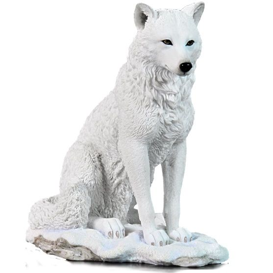 White wolf sculpture sitting in snow for my daughter