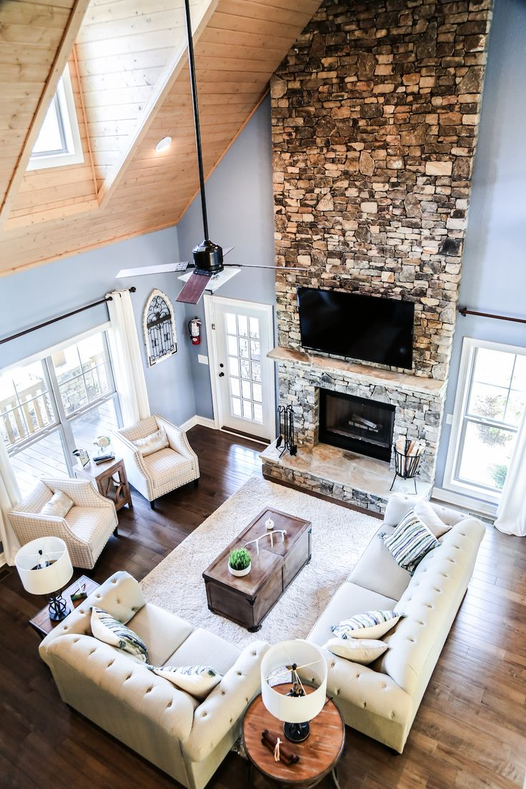Custom Living Room | Hickory Ridge III Model | Custom Built By Americau0027s  Home Place #