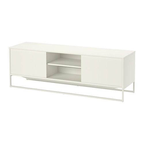 IKEA - HAGGE, TV unit, white, , The sliding door saves space and hides all your gadgets, while you still have them nearby when you need them.Built-in cable management keeps cords and cables out of sight but close at hand.