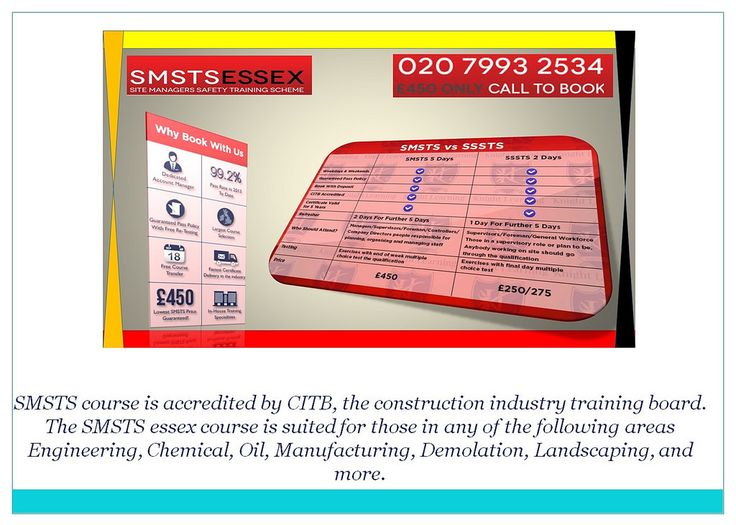 SMSTS Training Courses in Southend Smstsessex Why book
