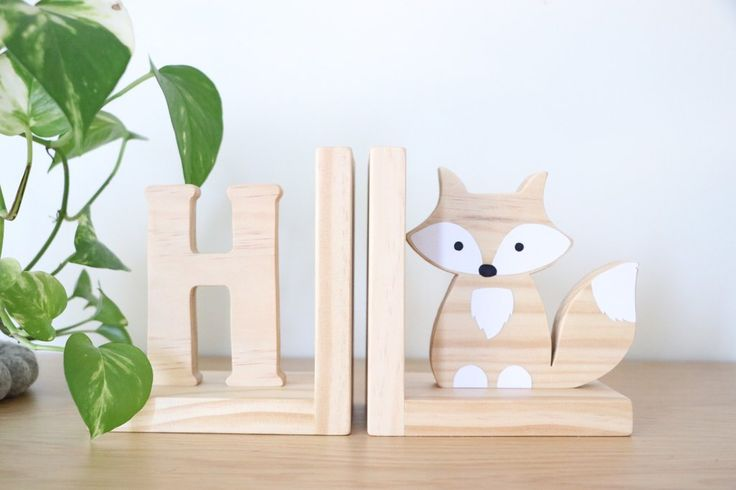 Raw Timber Inital & Figure Bookends