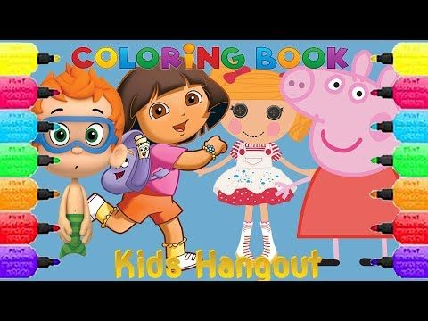 Coloring Book Pages For Kids girls and boys Peppa Pig And More ABC Family song kids Hangout - YouTube