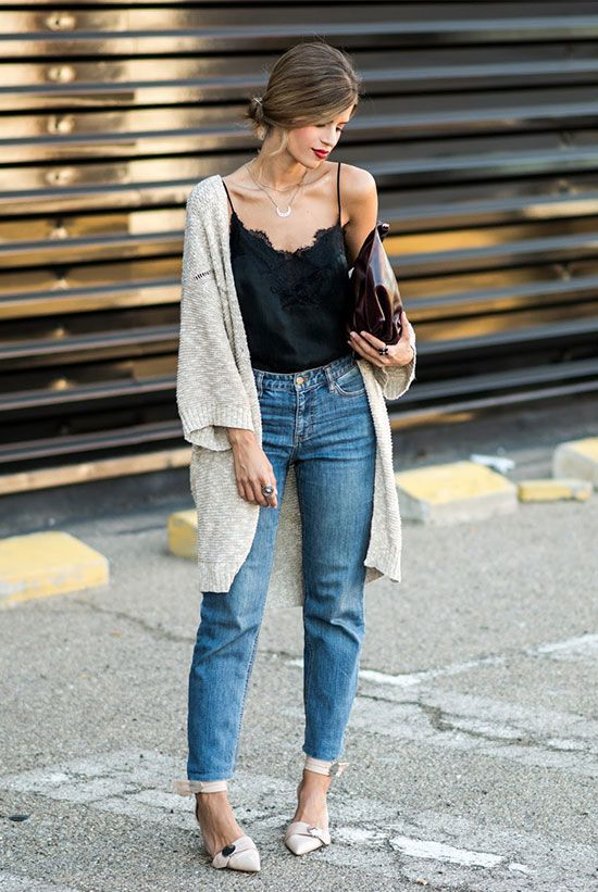 spring outfit, fall outfit, casual outfit, easy outfit, night out outfit, dinner outfit, night out outfit - beige chunky cardigan, black cami top, mom jeans, nude pointy toe heels, burgundy clutch