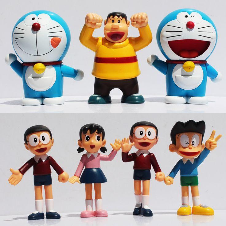 Cute Doraemon Figures Toys Nobita Sizuka Takeshi PVC Figure Doll 1set=7pcs 10cm Approx Free Shipping(China (Mainland))
