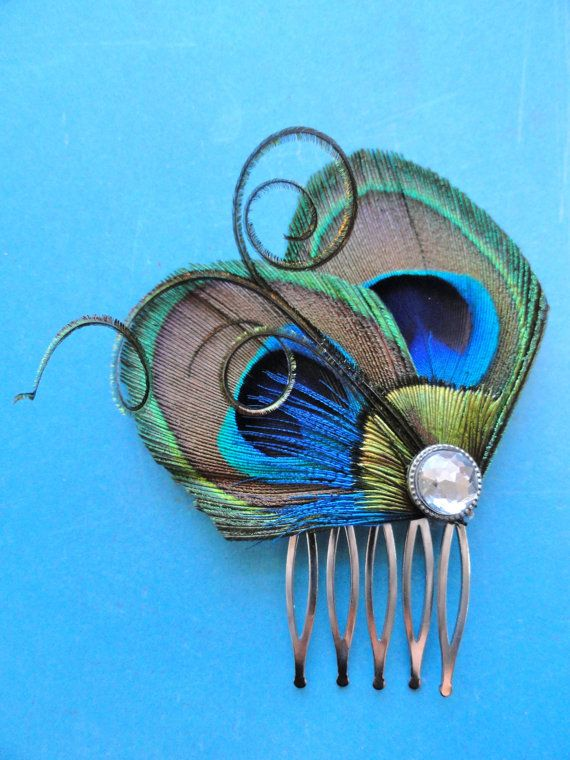 JOELLE Peacock Hair Comb Feather Fascinator by Lucyohlucy on Etsy, $17.50