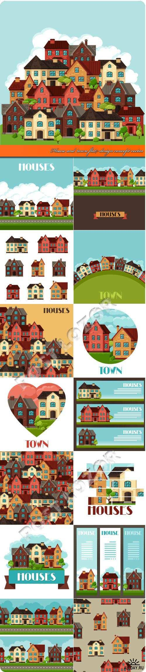 House and town flat design concept vector