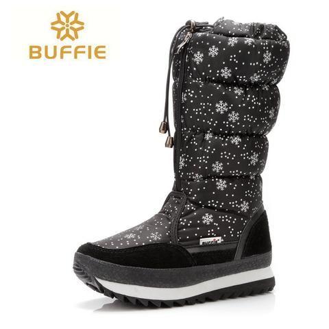 2016 new winter high women boots plush warm lady shoe plus size 35 to 42 easy wear zipper up girl white colour flower snow boots.   wonderfestgifts.com