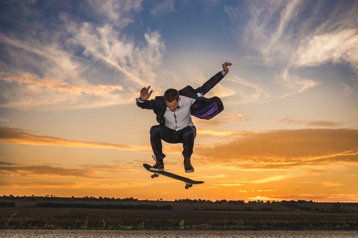 Groom on skateboard - Photo of my brother/groom.