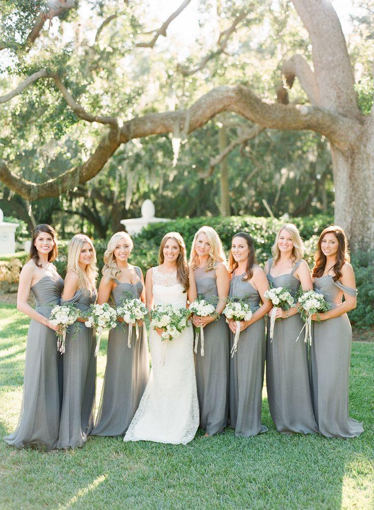 Slate colored bridesmaids dresses