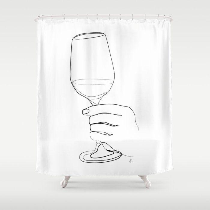 hand holding wine glass shower curtain