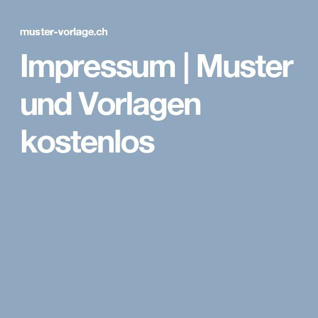 Impressum | Muster und Vorlagen kostenlos