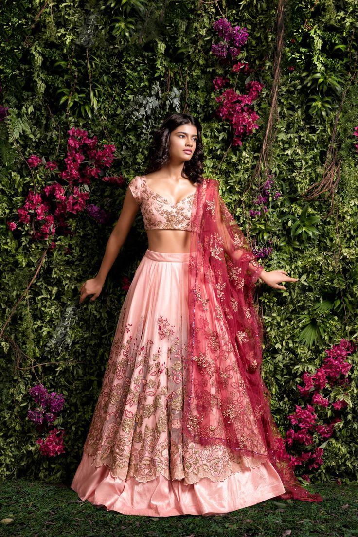 @nivetas A beautiful dusty pink tulle lehenga with intricate floral thread & pita embroidered panels. #bridal #lehenga