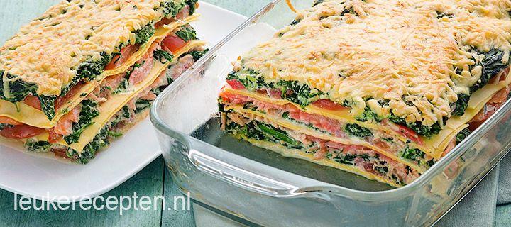 Lasagne met zalm,tomaat en spinazie