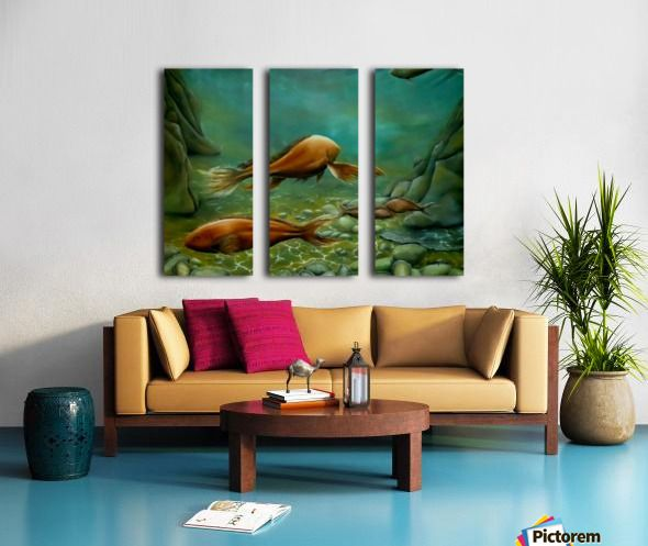 green, living room decor, canvas print, split canvas, triptych, fish, seabed, underwater, deep, ocean, sea, floor, wildlife, seascape