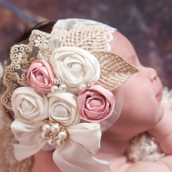Rosette HeadbandBaby Girl HeadbandBaby por ThinkPinkBows en Etsy