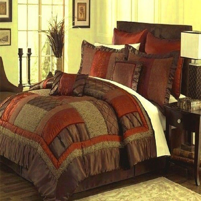 Queen King Cal King Brown Rust Olive Green Bedding Comforter Set Bed in a Bag