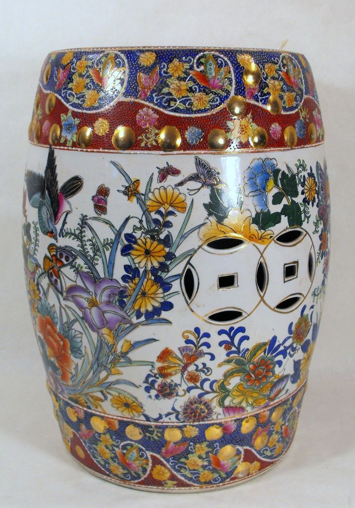 Vintage Chinese Asian Oriental Ceramic Garden Stool Accent Table Plant