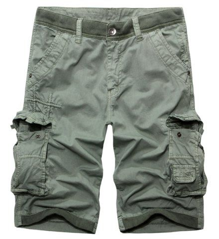 Casual Zip Fly Solid Color Multi-Pockets Cargo Shorts For Men