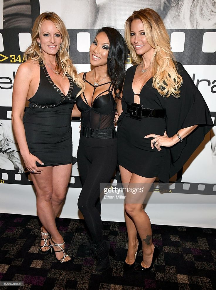Adult film actresses/directors Stormy Daniels, Asa Akira and jessica drake appear at the Wicked Pictures booth at the 2017 AVN Adult Entertainment Expo at the Hard Rock Hotel