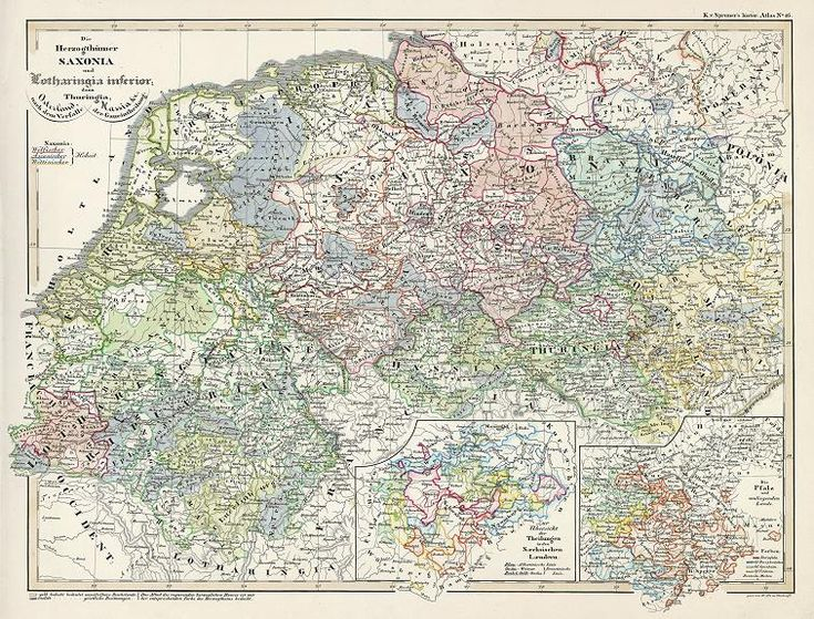 Saxonia, Lotharingia & Thuringia, historical map, 1846