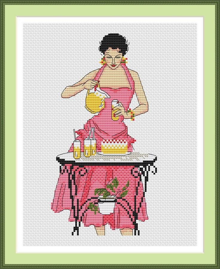 A Lady Pouring Drinks #Pink #Party #StitchPattern