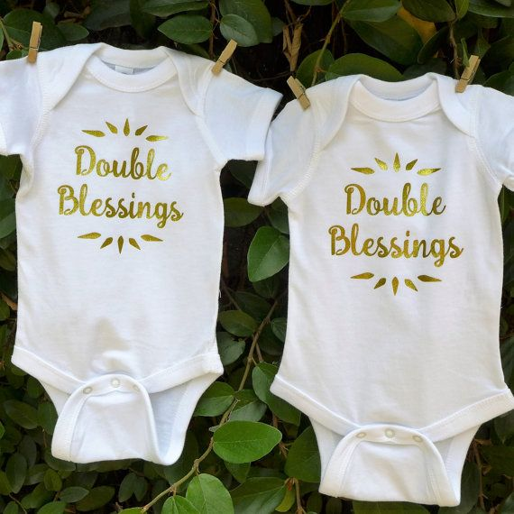 Twin onesies bodysuits set shows off your Double Blessings in soft shimmery gold. 100% cotton jersey garments for fraternal, identical twins