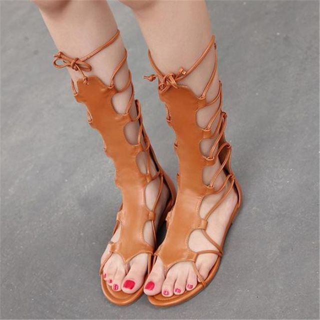 Famous brand gladiator sandals women 2016 summer roma black open toe knee tall high roman gladiator boot sandals sandal boots 45 (45% discount)