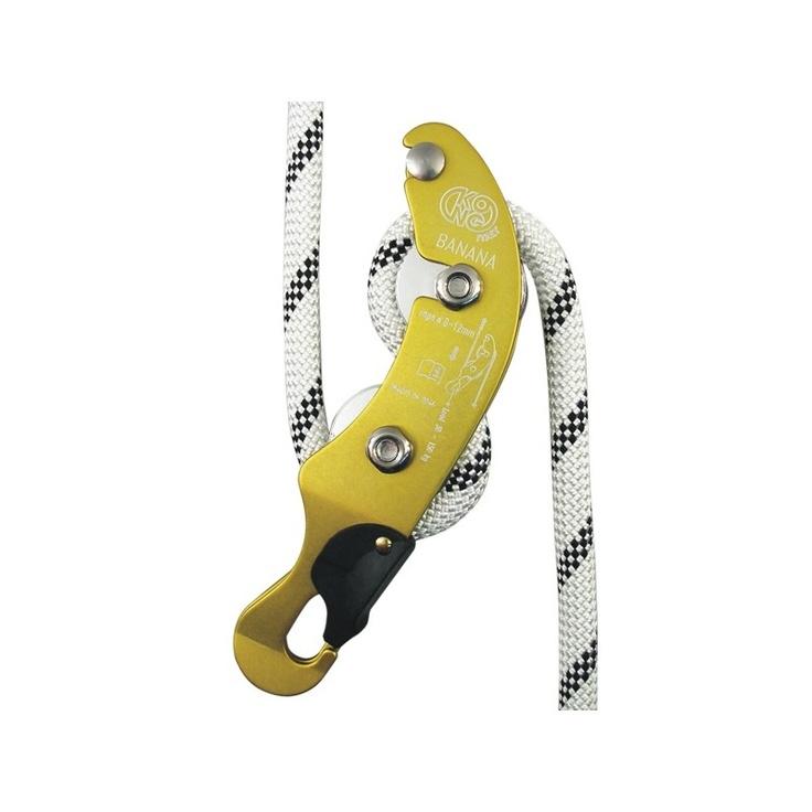 Das Abseilgerät vom italienischen Hersteller Kong ist mit einer Länge von 19,3 cm ausgesprochen klein und für Seile von einem Durchmesser von 9-12 mm geeignet.  Da das Seil hintereinander und nicht nebeneinander geführt wird, ist es auch außerordentlich schmal.  Durch seine gebogene Form erzielt das Banana eine sehr gute Bremsleistung. http://www.ras-klettershop.de/Banana-Abseilgeraet
