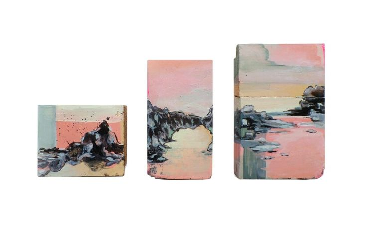 Three little landscapes on wood, 2015 by Stroke a Bird