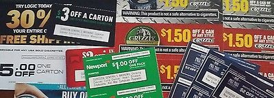 Grizzly Marlboro Pall Mall Newport Logic Vape Tobacco Lot 23 Coupons $44+ Value