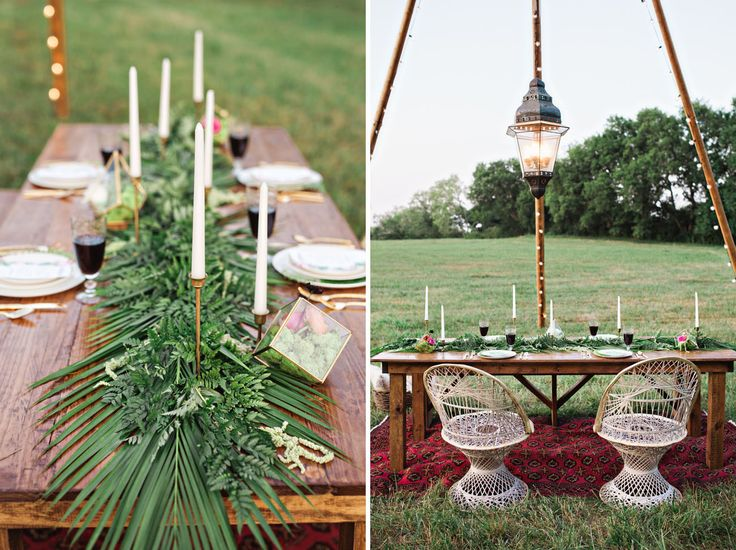 Greenery and Candles for a striking but simple table deco for weddings