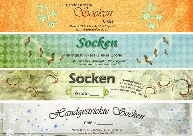 Banderole / Verpackung für selbstgestrickte Socken *Herbst*