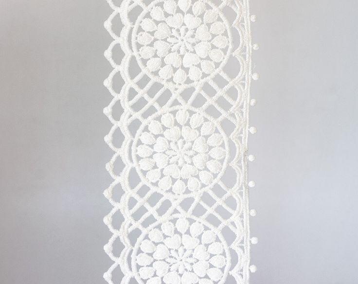 2001_Off white ribbon lace 9mm, Delicate lace trim, White lace border, Wedding lace ribbon, White floral lace, Floral lace border_1.8 m. by PurrrMurrr on Etsy