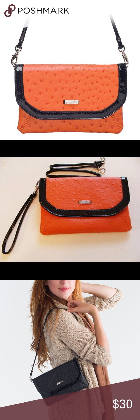 Orange and black clutch NWT Faux Ostrich leather clutch - patent leather trim. Also has a long strap to use as a shoulder or cross body bag. Big enough to fit your cell phone and anything else you need for a night out! From a smoke free home. Can use THREE ways! Stock photos used as this is new in package. grace adele Bags Clutches & Wristlets