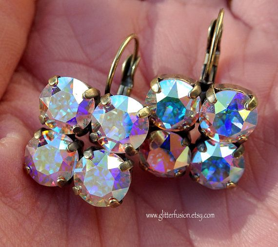 Statement Crystal Earrings Holographic Earrings Chandelier Earrings Crystal Drop Earring