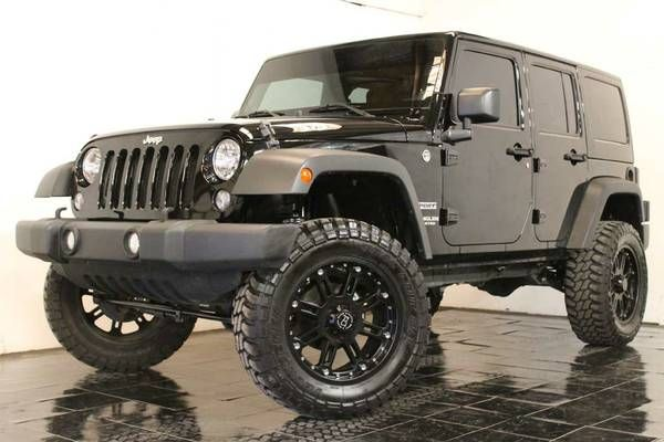 "2014 Jeep Wrangler Sport Unlimited. Let's start with the 3.5"" Trailmaster Suspension LIFT which compliments the Like-New 20"" Black Rhino Hard Alloy Wheels which are wrapped with Like New 35x12.50 Thunderer Trac Grip M/T Tires!"