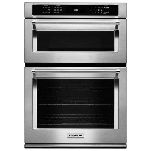 """KitchenAid - 30"""" Single Electric Convection Wall Oven with Built-In Microwave - Stainless-Steel - Larger Front"""