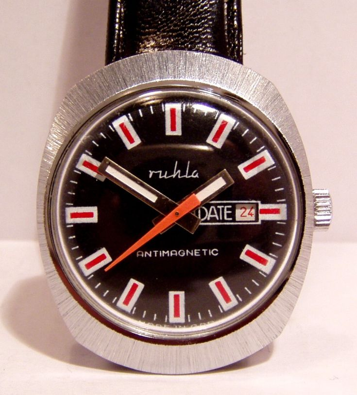 Ruhla Black Dial Red and White Indices with Date and Red Second Hand UMF 24-33 Caliber