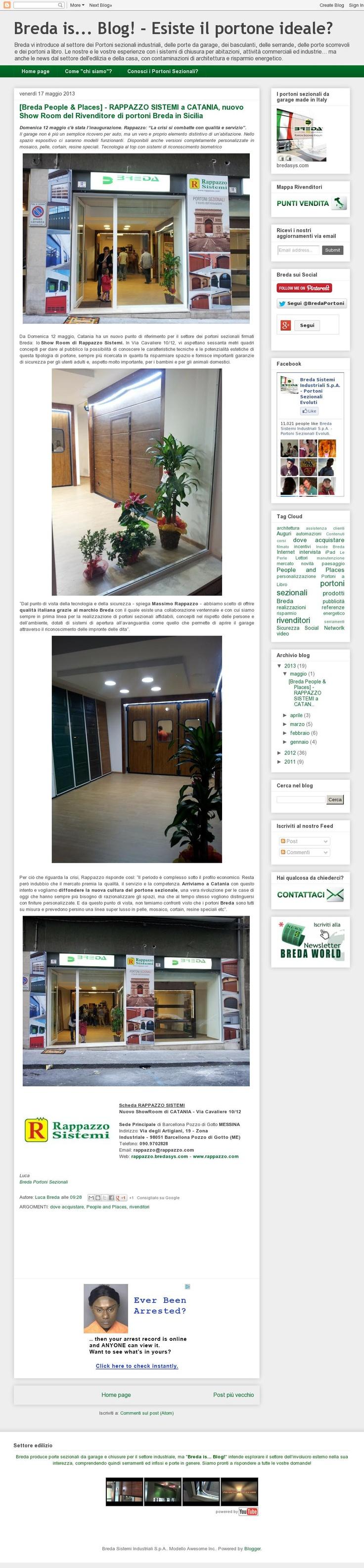 [Breda People & Places] - RAPPAZZO SISTEMI a CATANIA, nuovo Show Room del Rivenditore di portoni Breda in Sicilia http://blog.bredasys.com/2013/05/breda-people-places-rappazzo-sistemi.html #breda #portoni #sezionali #sectional #doors #Catania #Rappazzo