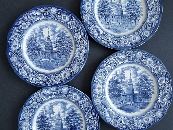 Liberty Blue Staffordshire Ironstone Dinner Plates Made in