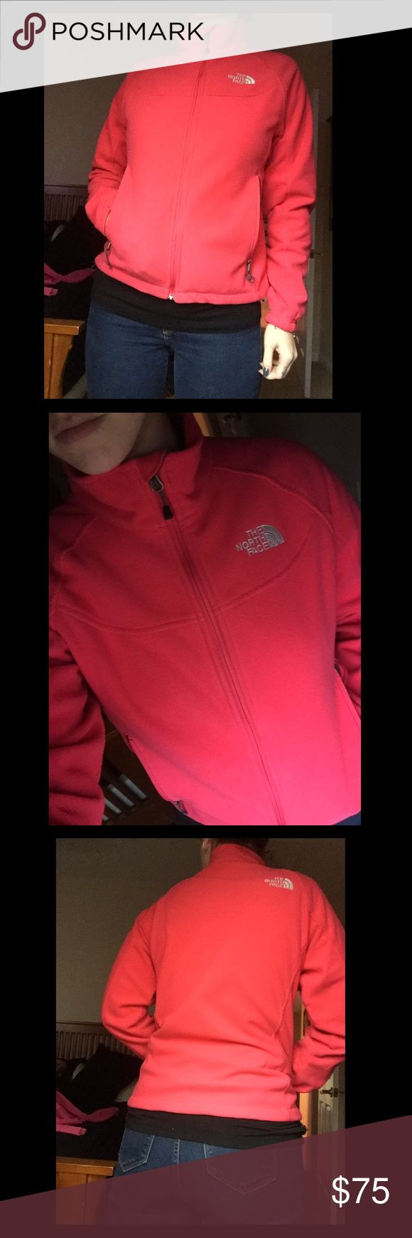 Pink North Face Fleece Hot pink North Face. In great condition  other than small burn holes from a bone fire. Super warm and comfy The North Face Jackets & Coats